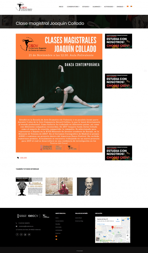 Clase magistral Joaquin Collado – Conservatori Superior de Dansa de València